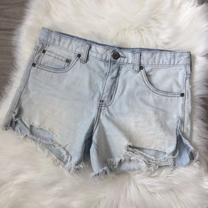 Free People Ripped Distressed Jean Denim Shorts 26